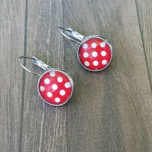 Leverback earrings red and white polka dots